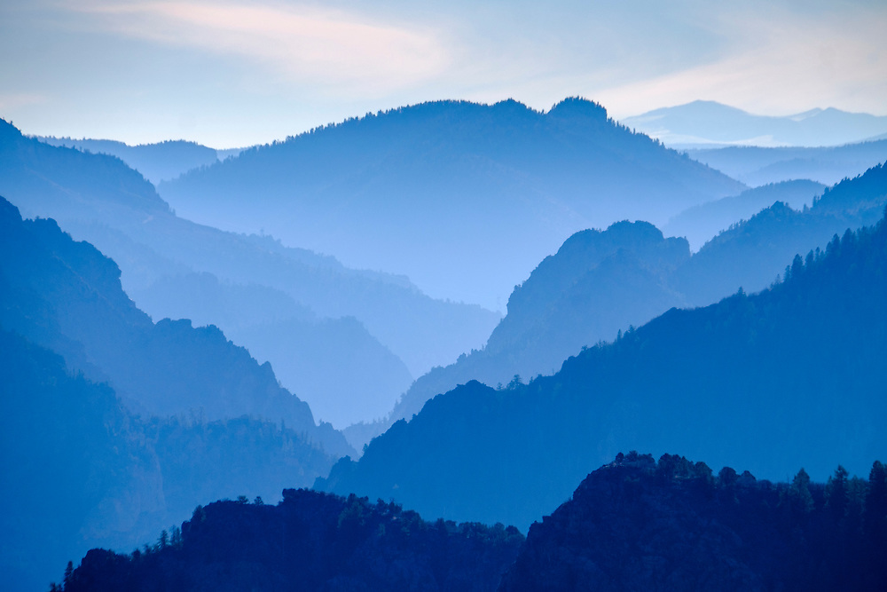 Blue hour, just after sunset, looks incredible when looking down-canyon from Tomichi Point.