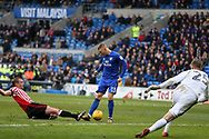 Anthony Pilkington of Cardiff city (13) scores his teams 4th goal. EFL Skybet championship match, Cardiff city v Sunderland at the Cardiff city stadium in Cardiff, South Wales on Saturday 13th January 2018.<br /> pic by Andrew Orchard, Andrew Orchard sports photography.