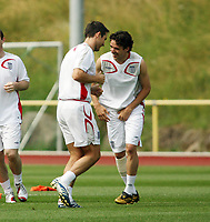 Photo: Chris Ratcliffe.<br />England Training Session. FIFA World Cup 2006. 29/06/2006.<br />Frank Lampard and Owen Hargreaves in training.
