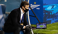 SAINT-PETERSBURG, RUSSIA - OCTOBER 20: Zenit St Petersburg manager Sergei Semak sitting in the dugout during the UEFA Champions League Group F match between Zenit St Petersburg and Club Brugge KV at Gazprom Arena on October 20, 2020 in Saint-Petersburg, Russia (Photo by MB Media]