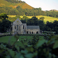 Europe, United Kingdom, North Wales, Llangollen. Valle Crucis Abbey, a Cistercian church dating from the 13th century, preserved and maintained by the CADW.