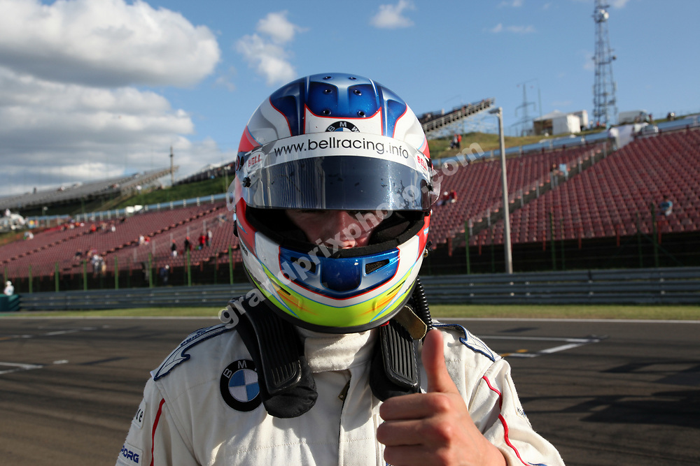 Michael Christensen after winning the first 2009 Formula BMW rtace at the Hungaroring. Photo: Grand Prix Photo
