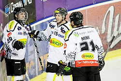 26.01.2014, Hala Tivoli, Ljubljana, SLO, EBEL, HDD Telemach Olimpija Ljubljana vs Dornbirner Eishockey Club, 4. Plazierungsrunde, in picture players of Dornbirner Eishockey Club celebrate goal during the Erste Bank Icehockey League 4th Placing round between HDD Telemach Olimpija Ljubljana and Dornbirner Eishockey Club at the Hala Tivoli, Ljubljana, Slovenia on 2014/01/26. Photo by Urban Urbanc/ Sportida