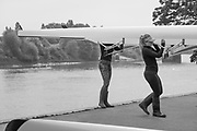 Mortlake/Chiswick. Greater London. London. 2017 Bourne Regatta At Chiswick Bridge. Course, Runs from and to Mortlake Anglian and Alpha Boathouse, dependent on the Tide Direction. Chiswick.  River Thames. <br /> <br /> General view, Putney Town athletes,  carry a manoeuvre  a boat in front of the  Boathouse.<br /> <br /> Saturday  06/05/2017<br /> <br /> [Mandatory Credit Peter SPURRIER/Intersport Images]