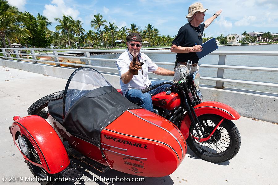 Erik Dunk gets to the final checkpoint with his 1937 Harley-Davidson EL during the Cross Country Chase motorcycle endurance run from Sault Sainte Marie, MI to Key West, FL. (for vintage bikes from 1930-1948). The staging area on a Key West pier just before the finish and near the end of the 110 mile Stage-10 ride from Miami to Key West, FL USA. Sunday, September 15, 2019. Photography ©2019 Michael Lichter.
