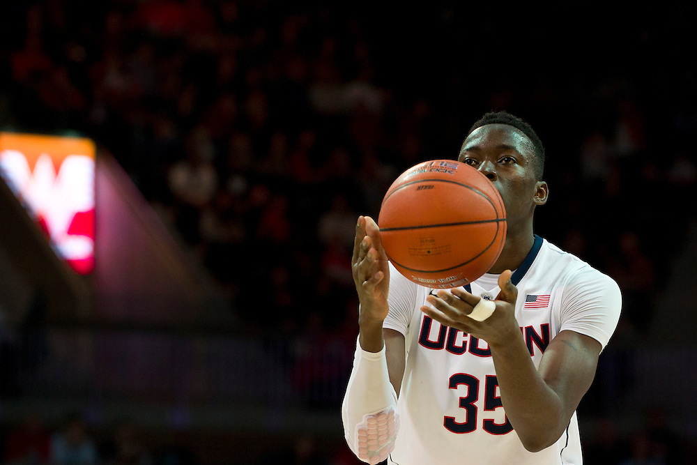 DALLAS, TX - JANUARY 4: Amida Brimah #35 of the Connecticut Huskies shoots a free-throw against the SMU Mustangs on January 4, 2014 at Moody Coliseum in Dallas, Texas.  (Photo by Cooper Neill) *** Local Caption *** Amida Brimah