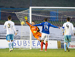 Forfar Athletic's keeper Grant Adam can't stop Cowdenbeath's Fraser Mullen (4) scoring their goal.  half time : Cowdenbeath 1 v 2 Forfar Athletic, Scottish Football League Division Two game played 17/12/2016 at Central Park.