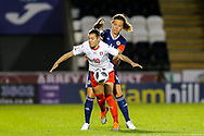 Ramona Bachmann (#10) of Switzerland is fouled by Rachel Corsie (#4) of Scotland during the 2019 FIFA Women's World Cup UEFA Qualifier match between Scotland Women and Switzerland at the Simple Digital Arena, St Mirren, Scotland on 30 August 2018.