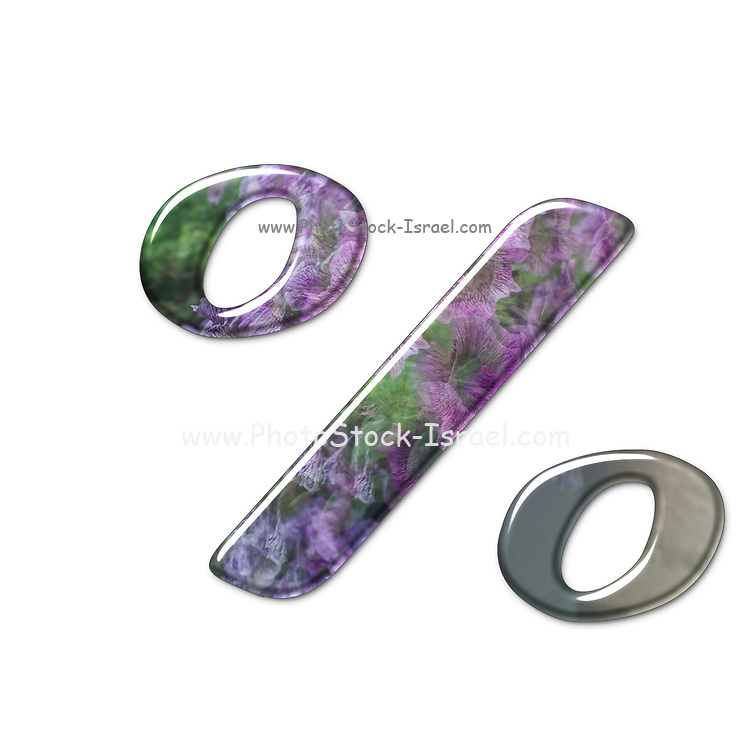 The Percent symbol. Part of a set of letters, Numbers and symbols of 3D Alphabet made with a floral image on white background