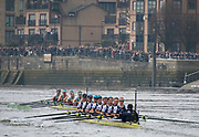 Greater London. United Kingdom, Cambride Women's  University Boat Club, move out front to take commanding position in the, 2018 Boat Race Cambridge University vs Oxford  University Putney to Mortlake,  Championship Course, River Thames, London. <br /><br />Saturday  24.03.18<br /><br />[Mandatory Credit  Intersport Images]