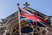 June 3, 2015 - Hastings, England, UK - A British flag is attached to the roof-balcony of the municipal council town hall in Hastings. (Credit Image: © Vedat Xhymshiti/ZUMA Wire)
