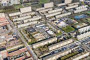 Nederland, Utrecht, Utrecht, 01-04-2016; Kanaleneiland, Kanaleneiland-Zuid. Naoorlogse wijk met veel eentonige semi-hoogbouw (portiekflats).<br /> Flats of the Kanaleneiland, postwar neighborhood with many monotonous semi-highrise flats<br /> <br /> luchtfoto (toeslag op standard tarieven);<br /> aerial photo (additional fee required);<br /> copyright foto/photo Siebe Swart