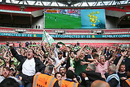The final whistle during the Vanarama National League Play Off Final match between Tranmere Rovers and Forest Green Rovers at Wembley Stadium, London, England on 14 May 2017. Photo by Shane Healey.