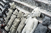 Aztec statues at the pyramid of Teotitlan or Templo Mayor, Mexico City, Mexico