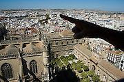 View from Giralda tower - Cathedral - SEVILLE - Seville province - Andalusia region - Spain. Route by train after the steps of Washington Irving, romantic American writer who travelled in 1829 from Seville to Granada, where he wrote 'Tales of the Alhambra'. Fascinated by the wealth and exoticism of the Spanish-Muslim civilization, Irving was responsible, along with the French writers of the 19th century, for the romantic image of Al-Andalus. Alberto Paredes / 4SEE