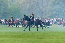 © Licensed to London News Pictures. 22/04/2019. London, UK. The King's Troop Royal Horse Artillery gallop before firing a 41 Gun Royal Salute in Hyde Park in honor of HRH Queen Elizabeth 93rd Birthday. Photo credit: Ray Tang/LNP