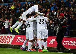 Martin Olsson of Swansea City celebrates with team. - Mandatory by-line: Alex James/JMP - 12/02/2017 - FOOTBALL - Liberty Stadium - Swansea, England - Swansea City v Leicester City - Premier League