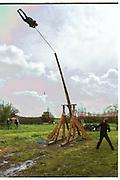 Dangerous Sports Club first trebuchet human catapult. 2000<br />© Copyright Photograph by Dafydd Jones<br />66 Stockwell Park Rd. London SW9 0DA<br />Tel 0171 733 0108