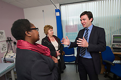 © Licensed to London News Pictures. 14/05/2012. London, UK. Shadow Health Secretary Andy Burnham MP (right) and Karen Buck, MP for Westminster North (centre) speaking to Nurse Practitioner Moira Crosdale (left) during a visit to Half Penny Steps Health Centre in North West London on May 14, 2012. Photo credit : Ben Cawthra/LNP