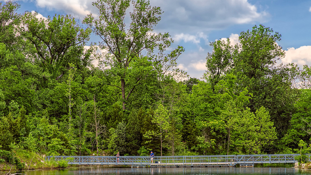 The bridge that crosses Klondike Park Lake