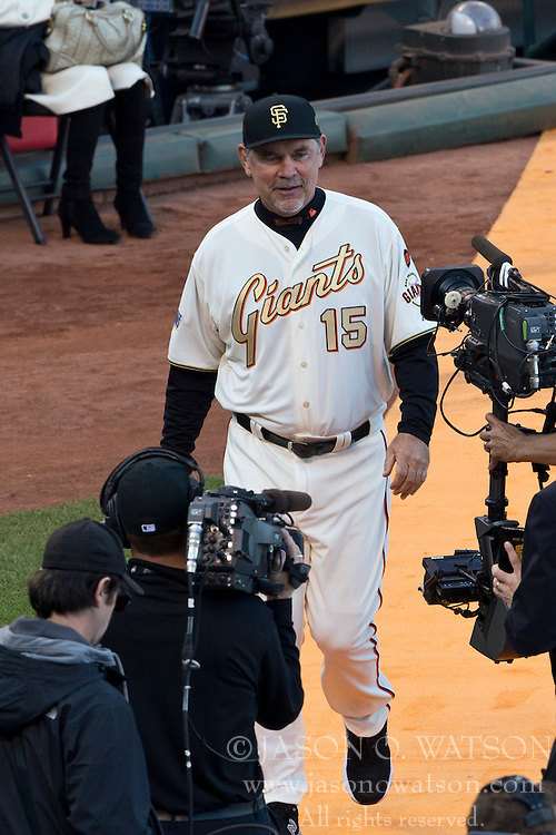SAN FRANCISCO, CA - APRIL 18:  Bruce Bochy #15 of the San Francisco Giants walks on the field during the 2014 World Series ring ceremony before the game against the Arizona Diamondbacks at AT&T Park on April 18, 2015 in San Francisco, California.  The San Francisco Giants defeated the Arizona Diamondbacks 4-1. (Photo by Jason O. Watson/Getty Images) *** Local Caption *** Bruce Bochy