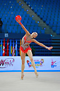 Kerber Jasmine during qualifying at ball in Pesaro World Cup at Adriatic Arena on 10 April 2015. Jasmine is a American individual rhythmic gymnast  born on December 4, 1996 in Chicago, Illinois, United States.