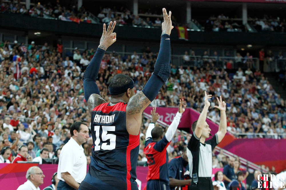 10 August 2012: USA Carmelo Anthony celebrates during 109-80 Team USA victory over Team Argentina, during the men's basketball semi-finals, at the North Greenwich Arena, in London, Great Britain.