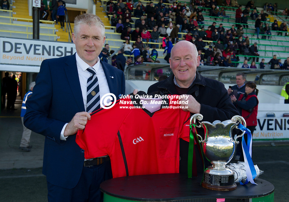 20-10-19. Kiltale v Kildalkey- Meath SHC Final (Replay) at Pairc Tailteann.<br /> Meath Referees Administrator pictured presenting a official match jersey to Fergus Smith.<br /> Photo: John Quirke / www.quirke.ie<br /> ©John Quirke Photography, Unit 17, Blackcastle Shopping Cte. Navan. Co. Meath. 046-9079044 / 087-2579454.
