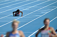 Norway's Folake Akinyemi  failed to compete in heat 4 during the first round of the women's 100m at the 2010 European Athletics Championships at the Olympic Stadium in Barcelona
