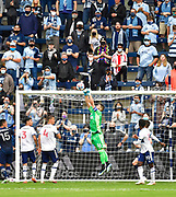 May 16, 2021 - Kansas City, KS, United States:   Vancouver Whitecaps goalkeeper Maxime Crepeau (16. Cemter) punches an incoming corner kick out of the goal area.  Sporting KC beat the Vancouver Whitecaps FC 3-0 in a Major League Soccer game. <br /> Photo by Tim Vizer/Polaris