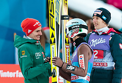 01.01.2018, Olympiaschanze, Garmisch Partenkirchen, GER, FIS Weltcup Ski Sprung, Vierschanzentournee, Garmisch Partenkirchen, Wertungsdurchgang, im Bild Richard Freitag (GER), Sieger Kamil Stoch (POL), Dawid Kubacki (POL) // Richard Freitag of Germany Winner Kamil Stoch of Poland Dawid Kubacki of Poland during the Competition Jump for the Four Hills Tournament of FIS Ski Jumping World Cup at the Olympiaschanze in Garmisch Partenkirchen, Germany on 2018/01/01. EXPA Pictures © 2018, PhotoCredit: EXPA/ JFK