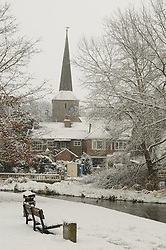 © under license to London News Pictures. 30.11.2010 A snow covered Saint Martin Church,on the River Darent, Eynsford,Kent today (30/11/2010) Heavy snowfall has spread south covering the home counties. Picture credit should read Grant Falvey/London News Pictures