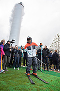 Kristian Ghedina, former World Cup alpine ski racer from Italy, attends the inauguration to test the ski slope.