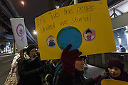 A protest march by members of the Democratic Party Abroad organisation to mark the inauguration of President Donald Trump, Tokyo, Japan. Friday January 20th 2017 Around 400 people took apart in the march, which started in Hibiya Park at 6:30pm and finished in Roppongi just before 8pm, to honour the service given by President Obama and to protest against the illiberal policies expected of the new administration of President  Trump.