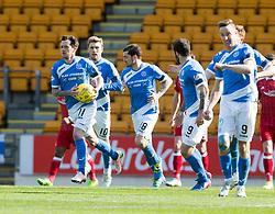St Johnstone's Danny Swanson cele scoring their penalty goal, with St Johnstone's Richard Foster. St Johnstone 1 v 2 Aberdeen. SPFL Ladbrokes Premiership game played 15/4/2017 at St Johnstone's home ground, McDiarmid Park.