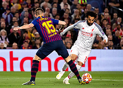 BARCELONA, May 2, 2019  FC Barcelona's Clement Lenglet (L) competes with Liverpool's Mohamed Salah during the UEFA Champions League semifinal first leg soccer match between FC Barcelona and Liverpool in Barcelona, Spain, on May 1, 2019. Barcelona won 3-0. (Credit Image: © Joan Gosa/Xinhua via ZUMA Wire)