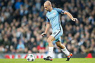 Manchester City's Pablo Zabaleta (5) during the Champions League match between Manchester City and Celtic at the Etihad Stadium, Manchester, England on 6 December 2016. Photo by Craig Galloway.
