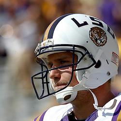 October 22, 2011; Baton Rouge, LA, USA;  LSU Tigers quarterback Jarrett Lee (12) prior to kickoff of a game against the Auburn Tigers at Tiger Stadium.  Mandatory Credit: Derick E. Hingle-US PRESSWIRE / © Derick E. Hingle 2011