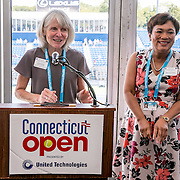 August 24, 2016, New Haven, Connecticut: <br /> Commissioner Catherine Smith and New Haven Mayor Toni Harp speak at the Mayor's Women's Legislators Luncheon during Day 6 of the 2016 Connecticut Open at the Yale University Tennis Center on Wednesday, August  24, 2016 in New Haven, Connecticut. <br /> (Photo by Billie Weiss/Connecticut Open)