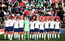 England players before a minutes silence for Armistice Day during the Women's International Friendly match at the AESSEAL New York Stadium, Rotherham.