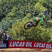 JUL 28, 2018, Washougal, WA  USA :  # 1 Eli Tomac get air coming off of jump 21 during the Lucas Oil Pro Motocross Washougal National 450 class championship at  Washougal, WA  Thurman James / CSM