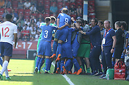 Italy celebrate scoring during the UEFA European Under 17 Championship 2018 match between England and Italy at the Banks's Stadium, Walsall, England on 7 May 2018. Picture by Mick Haynes.