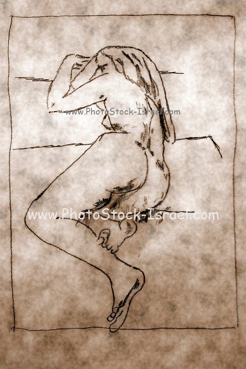 Reclining Nude woman as seen from behind. Photograph of a ketch by Vladi Alon Property release available
