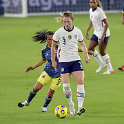 ORLANDO, FL - JANUARY 22:  Samantha Mewis #3 of United States controls the ball in front of Ana Huertas #5 of Columbia at Exploria Stadium on January 22, 2021 in Orlando, Florida. (Photo by Alex Menendez/Getty Images) *** Local Caption *** Samantha Mewis; Ana Huertas