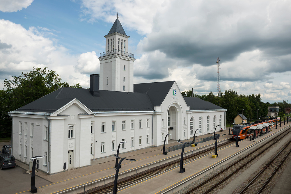Valga, Estonia - July 14, 2015: Train station in Valga, Estonia. Valga is a town on the border with Latvia. On the Latvian side it is called Valka.