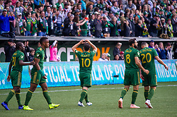 November 4, 2018 - Portland, OR, U.S. - PORTLAND, OR - NOVEMBER 04: Portland Timbers midfielder Sebastián Blanco dedicates his goal to his wife and daughter during the Portland Timbers first leg of the MLS Western Conference Semifinals against the Seattle Sounders on November 04, 2018, at Providence Park in Portland, OR. (Photo by Diego Diaz/Icon Sportswire) (Credit Image: © Diego Diaz/Icon SMI via ZUMA Press)