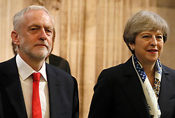 File photo dated 21/06/17 of Prime Minister Theresa May and Labour leader Jeremy Corbyn, who has overtaken Mrs May for the first time on the question of who voters think would make the best prime minister, a poll suggests.