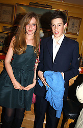KATE GOLDSMITH and her brother JAMES ROTHSCHILD at a private dinner and presentation of Issa's Autumn-Winter 2005-2006 collection held at Annabel's, 44 Berkeley Square, London on 15th March 2005.<br />
