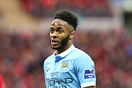 Raheem Sterling of Manchester City looks on. Capital One Cup Final, Liverpool v Manchester City at Wembley stadium in London, England on Sunday 28th Feb 2016. pic by Chris Stading, Andrew Orchard sports photography.