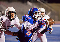 Folsom High School Bulldogs Joe Ngata (6), catches the ball for a touchdown to lead 7-0 after the point after attempt was good during the first quarter as the Folsom Bulldogs varsity football team hosts the Sheldon High School Huskies in the Div I football playoff game at Folsom High School,  Friday Nov 18, 2016.<br /> photo by Brian Baer
